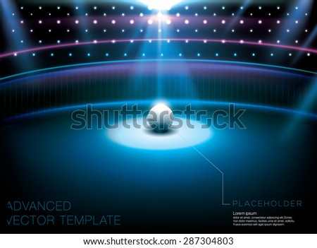 Shiny night club - studio stage with bright light spot and white globe placeholder. Advanced vector template - stock vector