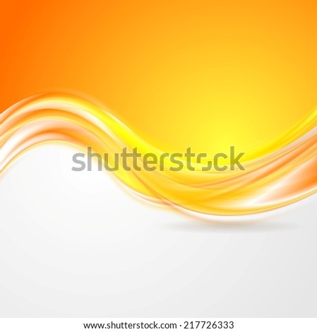 Shiny orange abstract waves. Vector background - stock vector