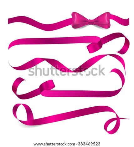 Shiny pink ribbon on white background. Vector illustration. - stock vector