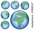 shiny planet earth map from six views; illustration - stock vector