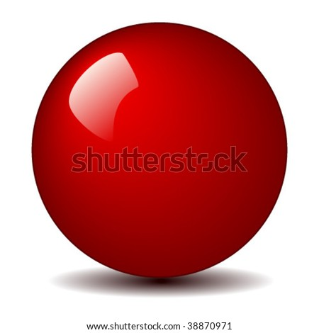 Shiny red ball vector - stock vector