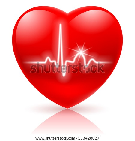 Shiny red heart with cardiogram isolated on white. - stock vector