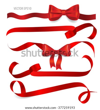 Shiny red ribbon on white background. Vector illustration. - stock vector