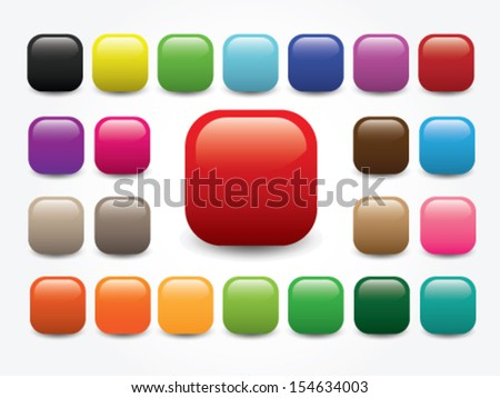 Shiny Round Square - Blank Button Collection - Various Color - stock vector