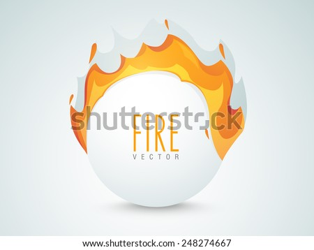 Shiny sale sticker, tag or label with fire flame on grey background. - stock vector