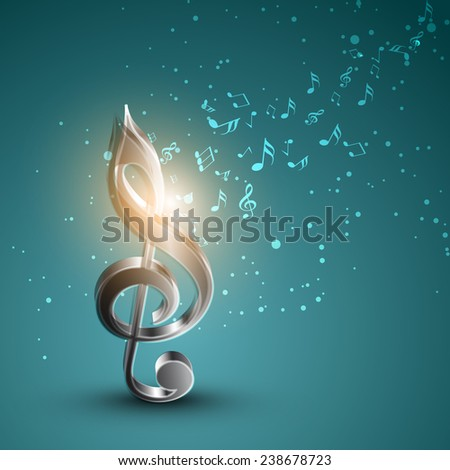 Shiny silver 3D g-clef with musical notes on sea green background. - stock vector