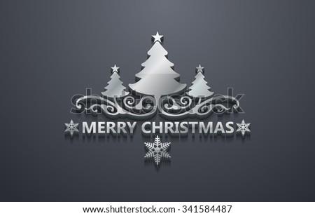 Shiny Silver Merry Christmas Design - stock vector