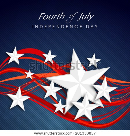 Shiny silver stars and red waves on blue background for 4th of July, American Independence Day celebrations.  - stock vector