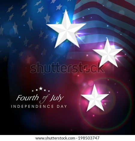 Shiny silver stars on American National Flag waving background for 4th of July, American Independence Day celebrations.  - stock vector