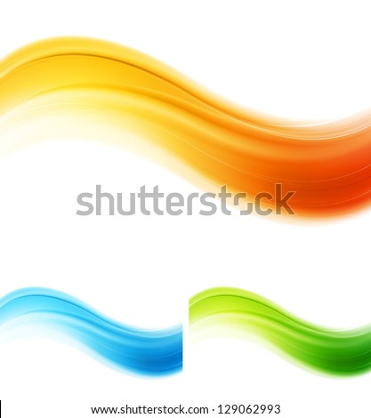 Shiny smooth abstract waves. Vector design eps 10 - stock vector
