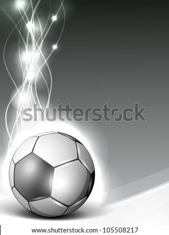 Shiny soccer ball or football on shiny wave background. EPS 10. - stock vector