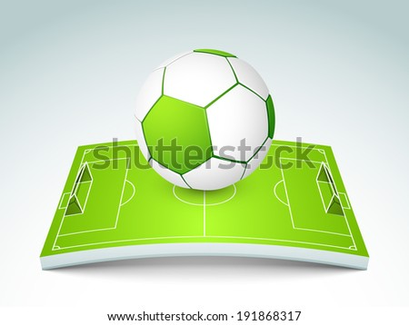Shiny soccer ball with green stadium stage on grey background. - stock vector