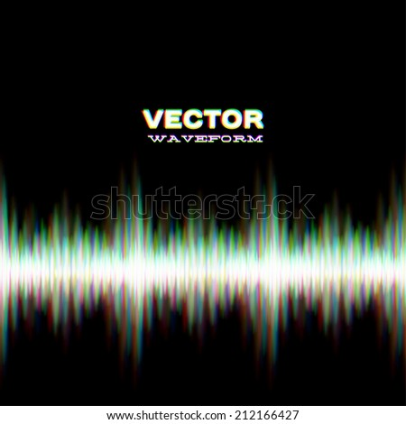 Shiny sound waveform with vibrating light aberrations - stock vector
