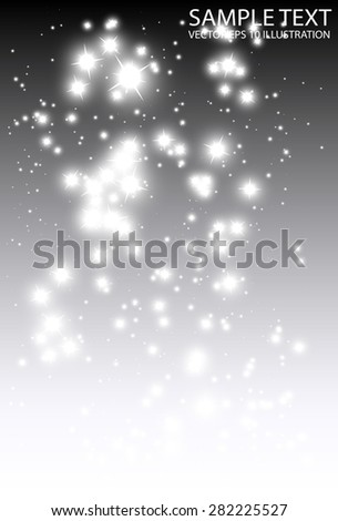 Shiny sparkling background vector decorative illustration template - Vector glitters falling on silver background illustration - stock vector
