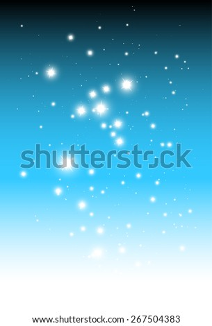 Shiny sparkling stars falling background vector template - Vector glittering stars falling on blue background illustration - stock vector