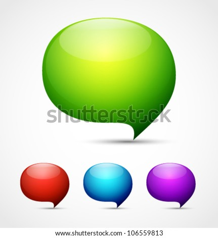 Shiny speech bubbles vector background - stock vector
