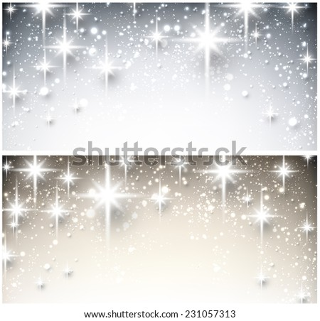 Shiny starry christmas banners. Vector Illustration. - stock vector