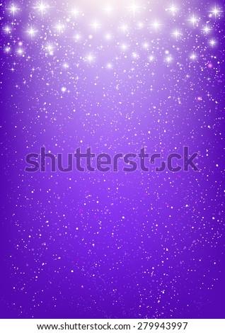 Shiny stars on purple background - stock vector
