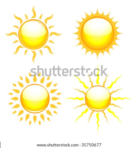 Shiny sun icons vector illustration - stock vector