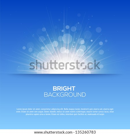 Shiny sun vector, sunbeams, sunrays, bokeh and space for your text - stock vector
