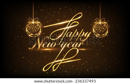 Shiny text Happy New year with X-mas Balls hanging on brown background, can be used as poster or banner design. - stock vector
