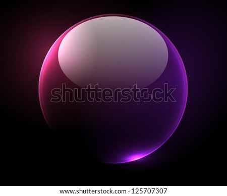 Shiny transparent bubble over a dark background - vector - stock vector