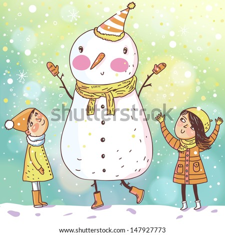 Shiny vector christmas background with funny snowman and children. Happy new year postcard design with boy and girl enjoying the holiday. Winter snow with bokeh effect. 2014 card - stock vector
