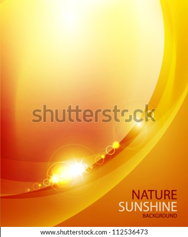 Shiny wave abstract background. Orange color - stock vector