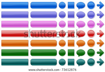 Shiny web buttons in various colors. All elements are separated. File is layered. - stock vector