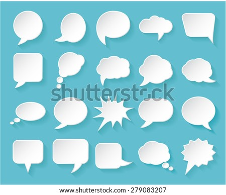 Shiny white paper bubbles for speech on an blue background. Vector illustration. - stock vector