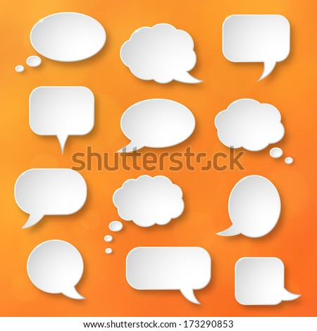 Shiny white paper bubbles for speech on an orange background. Abstract design. Vector illustration.   - stock vector