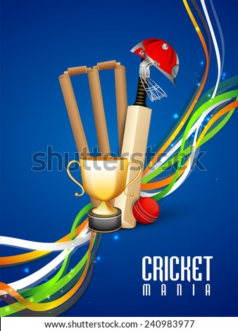 Shiny winning trophy with bat, ball, wicket stumps, helmet and national tricolor stripes on blue background for Cricket Mania. - stock vector
