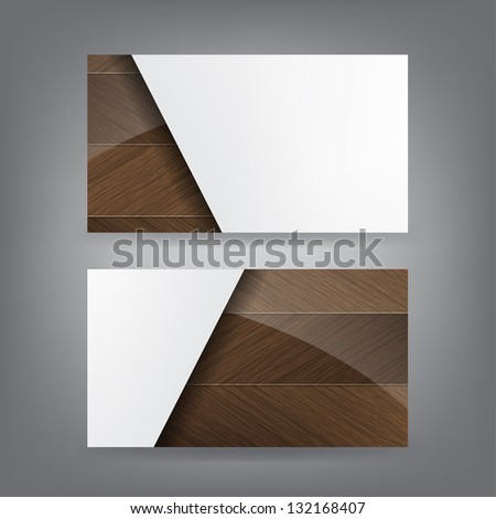 Shiny Wood and paper theme business card template. (Vector) - stock vector