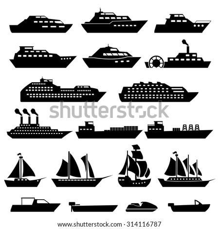 Ship Boat Icons Set - stock vector
