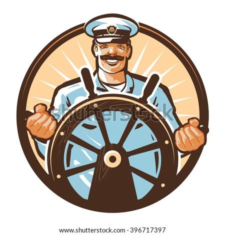 ship captain vector logo. cruise, journey, tour, trip or travel icon - stock vector