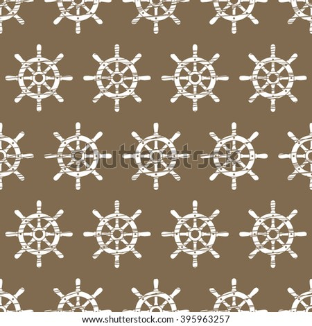 Ship helm vector seamless pattern. Helm, steering wheel seamless texture. Steering wheel symbol seamless pattern. Ship helm vector wallpaper design. EPS8 vector illustration. - stock vector
