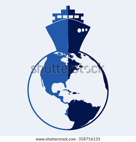 ship icons with Vector globe icons - stock vector