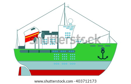 Ship in cartoon style - stock vector