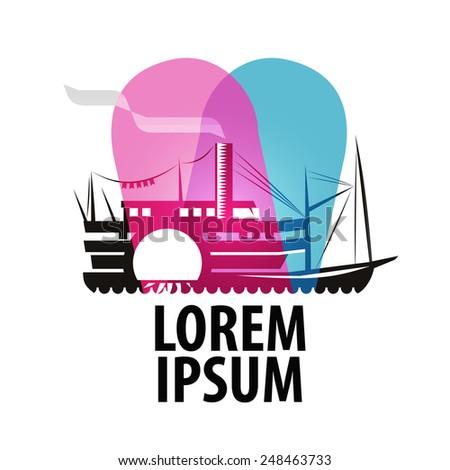 ship logo design template. steamer or Cruise icon. - stock vector