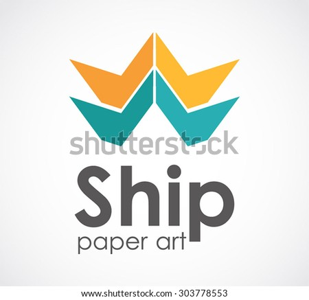 Ship paper craft art abstract vector logo design template creative marine sail business icon colorful company identity symbol concept - stock vector