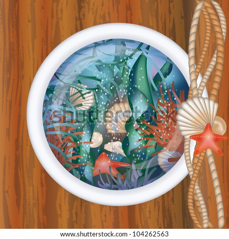 Ship porthole window with underwater scene, vector illustration - stock vector