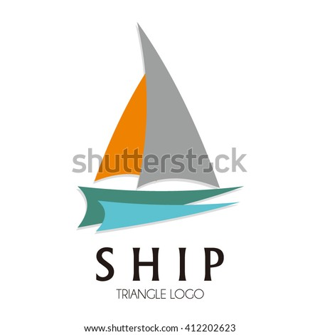 Ship sailing on the ocean abstract vector and logo design or template ...