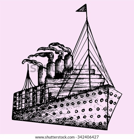 ship, steamboat, steamship, doodle style, sketch illustration, hand drawn, vector - stock vector
