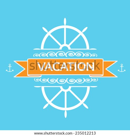 ship steering yacht wheel vacation banner flat icon vector illustration - stock vector