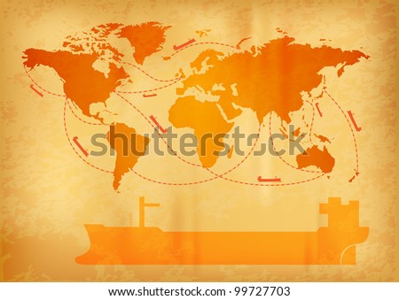 ship transportation on the old world map - stock vector