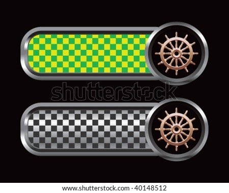 ship wheel on green and black checkered banners - stock vector