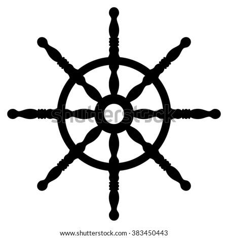 Ship wheel silhouette isolated on white background. Rudder. Helm wheel.  - stock vector