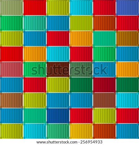 Shipment containers seamless pattern - stock vector