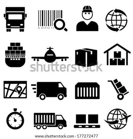Shipping and cargo icon set - stock vector