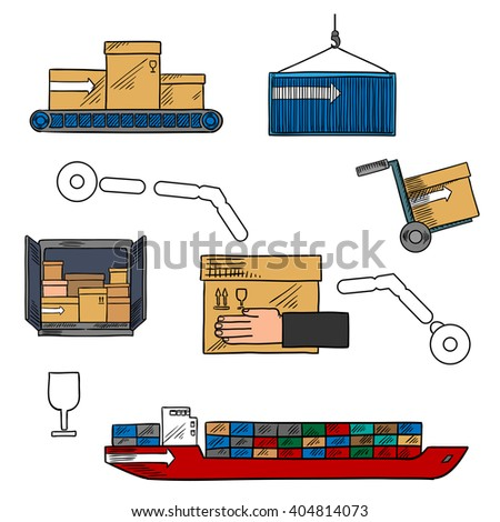 Shipping and courier delivery icon with colored sketches of container ship, delivery truck, warehouse conveyor and hand truck with cardboard boxes and packages, fragile symbol - stock vector